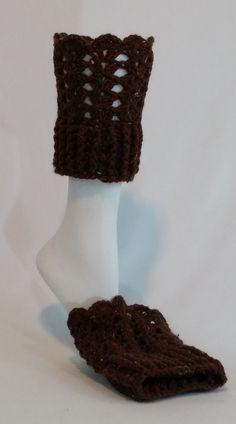 Nell's Brown Boot Cuffs, Nell's Crochet Boot Cuffs, Crochet Boot Toppers
