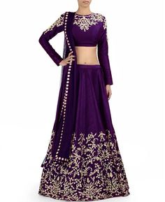 Purple Embroidered Lehenga Choli & Dupatta Set