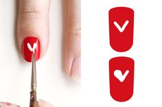 """Paint your entire nail with Okay, Cupid. Dip the nail-art brush in White Wedding and create a large """"V"""" in the center of your nail. Fill in the """"V"""" to create a heart."""