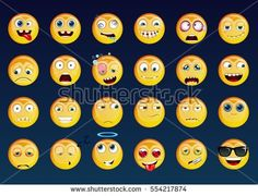 Set of Emoticons. Vector smile face icons. Cartoon yellow funny sticker