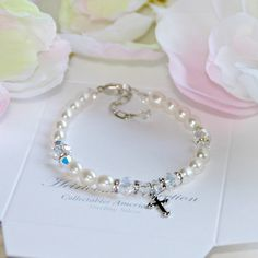 """Freshwater Pearl and Swarovski Crystal Children's Bracelet with Cross Charm 