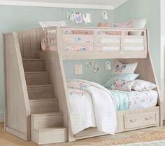 Belden Twin-Over-Full Stair Loft Bed For Kids | Pottery Barn Kids Bunk Beds For Girls Room, Bunk Beds With Stairs, Twin Bunk Beds, Kid Beds, Kids Bedroom, Bedroom Decor, Bedroom Loft, Bunk Bed Designs, Girl Bedroom Designs
