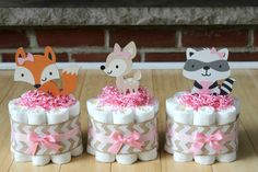 SET OF 3 - Mini Pink Girls Woodland Animals Diaper Cakes, Woodland Baby Shower, Decor, Burlap, Pink, Chevron, Fox, Deer, Raccoon Critters
