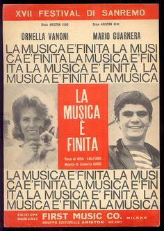 """""""La musica è finita"""" spartito, Sanremo Festival   Ornella Vanoni e Mario Guarnera"""