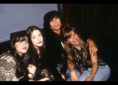 Steven Tyler with Mia and Liv Tyler and former wife Teresa Barrick in 1993