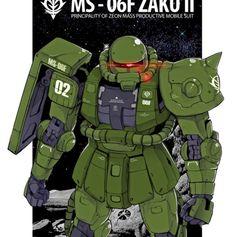 The Zaku II was eventually replaced by the Gouf for ground combat. Robot Art, Robots, Gundam Wallpapers, Gundam Art, Custom Gundam, Mobile Suit, Anime Art, Sci Fi, Drawing Stuff