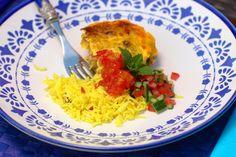 Lamb Bobotie with Papaya & Chilli Chutney South African Dishes, Yellow Rice, White Bread, The Dish, Chutney, Raisin, Turmeric, Lamb
