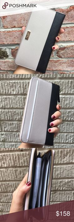 """NWT Kate Spade Leather Wallet Brand new with tags Kate Spade saffiano leather Wallet Size: 4"""" X 8""""  12 credit card slots  3 main compartments  Middle compartment has a zipper for coins  2 inside Slots for bills   There is also an outer compartment Fully Zipped     ✔️ Bundle Discounts  ✔️ Reasonable Offers through offer button  ❌ Low Balling  ❌ Trades kate spade Bags Wallets"""