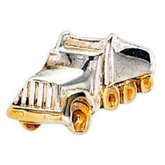 Einzel - Ohrstecker LKW 925 Sterling Silber rhodiniert teilvergoldet, Lastwagen
