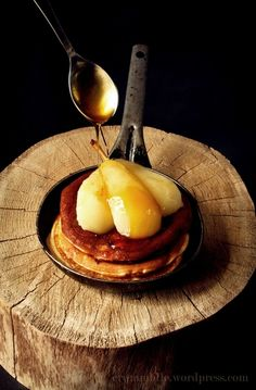 Pears on pancakes with maple syrup....does it get any yummier!
