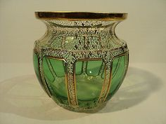 STUNNING-MOSER-ART-GLASS-CASED-OVERLAY-VASE-w-ELABORATE-GILT-DECORATION