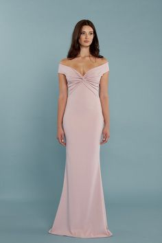 bf8cddfdbd Bella Bridesmaids Exclusive Style. Knotted off-shoulder fitted gown with  cut-out back
