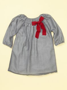 Pleated Chiffon Dress with Red Bow and Sleeves by Isabel Garreton on Gilt.com