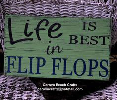 Flip Flops Sign  Beach Decor  Coastal  by CarovaBeachCrafts, $31.00