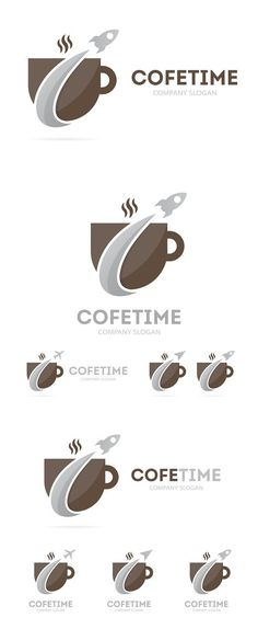 Rocket and coffee logo combination. Objects. $5.00