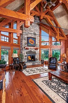 Photos of PrecisionCraft great rooms. View this photo gallery of log home and timber home great rooms. Log Home Plans, Barn Plans, House Plans, Timber Frame Homes, Timber House, Metal Building Homes, Building A House, Mountain House Decor, Mountain Cabins