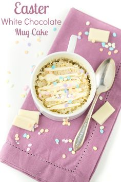 Easter White Chocolate Mug Cake from @Caroline Edwards | chocolate and carrots. Try recreating it on your own with Lindt White Chocolate CLASSIC RECIPE!