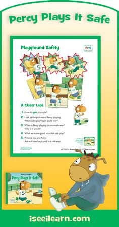 """""""Percy Plays It Safe,"""" an I See I Learn story about the very important skill of playground safety! FREE pdf """"Closer Look"""" poster! See all the posters. School Bus Safety, Playground Safety, Social Stories, Preschool Kindergarten, Health And Safety, Closer, Posters, Learning, Children"""