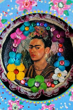 Frida Kahlo Mexican style round shadow box // summer flowers rainbow // baby blue pink pastels / Mexican folk art