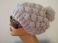 knit beret hat beanie accessories  beret pompom beanie by nilsmake