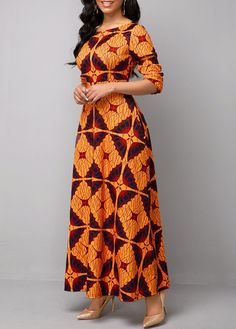 Long Sleeve Boat Neck Tribal Print Maxi Dress in 2020 (With images) Short African Dresses, African Fashion Skirts, African Print Dresses, African Print Fashion, Women's Fashion Dresses, Maxi Dress With Sleeves, The Dress, Sleeve Dresses, Dress Long