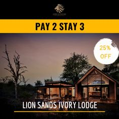 The award-winning Ivory Lodge is located in Sabi Sand Reserve in its south-eastern corner. The luxury lodge offers scenic views of the Kruger National Park the majestic Sabie River that flows throughout the year. Sand Game, Nature Adventure, Kruger National Park, Game Reserve, African Safari, Sands, Discovery, Tourism, Exotic