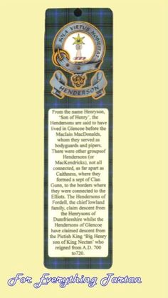 Henderson Clan Tartan Clan Henderson Badge Laminated Bookmark