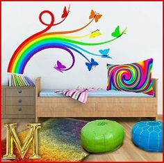 rainbow theme bedrooms - decorate a rainbow bedroom theme - Rainbow room decor - rainbow bedding - rainbow mural stickers - Rainbow wall decals - rainbow bedroom decorating ideas - Rainbow colors bedroom design ideas Butterfly Bedroom, Butterfly Wall Decals, Bedroom Themes, Bedroom Decor, Bedroom Ideas, Wall Decor, Rainbow Bedroom, Rainbow Room Kids, Rainbow Wall Decal