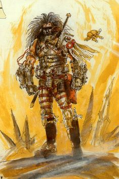 John Blanche again. A Unification War techno-barbarian. The gauntlets are superb, with power leads and gauges abound.