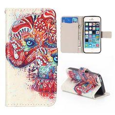Kleurrijke olifant bookcover hoes voor iPhone 5 / 5S