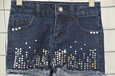 CHEROKEE  DESIGNER GIRLS BLUE SEQUINS SHORTS SIZE S ON SALE #Cherokee #Everyday