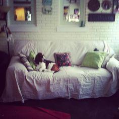 canvas drop cloth as a sofa throw Im going to Home Depot tomorrow