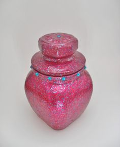 Hand Painted Jar with Lid Dark Pink Sparkling with by JoSeBe