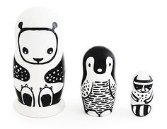 Wee Gallery | Nesting Dolls: Set of 3 Nesting Dolls - Black and White Animals.  Addair Kentucky is in to nesting and I think the littlest one would like looking at the high contrast lines