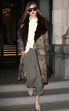 Camo couture! The model is seen around town in Milan rocking her Tony Bianco Diddy Stretch Bootie's during fashion week.
