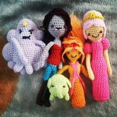 LSP, Marceline, Tree Trunks, Flame Princess and Princess Bubblegum Still many more to come! Adventure Time: The Ladies Adventure Time Birthday Party, Adventure Time Parties, Adventure Time Princesses, Crochet Crafts, Crochet Dolls, Yarn Crafts, Crochet Projects, Knit Crochet, Loom Knitting