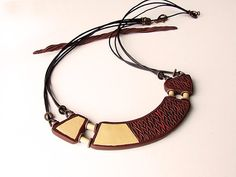 Chocolate Brown Necklace Ecry Knit Detail Matinee by ValgStudio