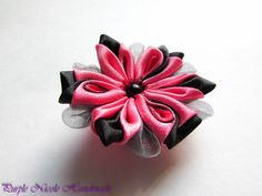 Marilyn - Handmade Floral Broach by Purple Nicole (Nicole Cea Mov), pink and black handmade kanzashi satin&organza flower.
