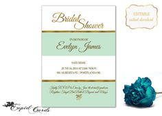 Elegant Turquoise Striped  Bridal Shower Invitation by CupidCards