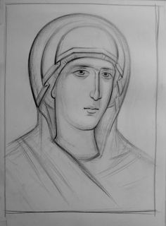 Teaching drawing more free materials on our site… Teaching Drawing, Paint Icon, Byzantine Icons, Greek Art, Religious Icons, Orthodox Icons, Painting Process, Line Drawing, Monochrome