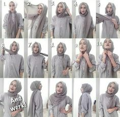 easy way to wear hijab with gown.Hijab style step by step tutorials. Ootd Hijab, Hijab Chic, Hijab Dress, Hijab Outfit, Tutorial Hijab Segitiga, Simple Hijab Tutorial, Stylish Hijab, Modern Hijab, Muslim Fashion
