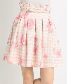 千鳥チェック花スカート 渋谷109で人気のガーリーファッション リズリサ公式通販