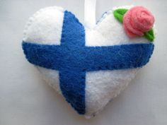 Felt FINLAND Flag Love Heart Valentines Wedding Olympics hanging ornament decoration Finnish National Flag on Etsy, $13.39