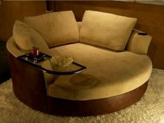 oversized round swivel chair with cup holder
