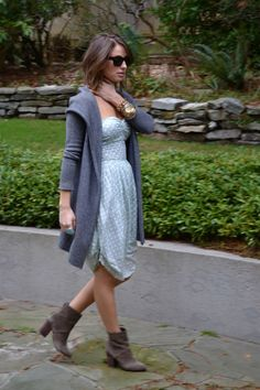 feminine dress with ankle boots