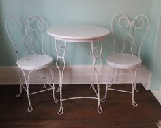 vintage ice cream parlor table chair wrought iron shabby chic white chippy dining kitchen