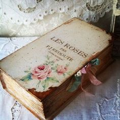 Vintage rose book with ribbon
