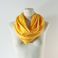 SUNFLOWER YELLOW Infinity Scarf - Gold Eternity Scarf - Yellow