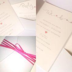 Quirky hot pink and grey wedding invitation modern design pocket fold style Grey Wedding Invitations, Invites, Pink Grey, Hot Pink, Gray Weddings, Burgundy Wedding, Garden Wedding, Modern Design, Handmade