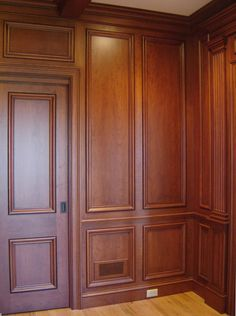 Custom Made Cherry Paneled Library With Bookcases Wooden Wall Panels, Wood Panel Walls, Wooden Walls, Judges Paneling, Wood Paneling, Wall Panelling, Pub Design, House Design, Ceiling Design
